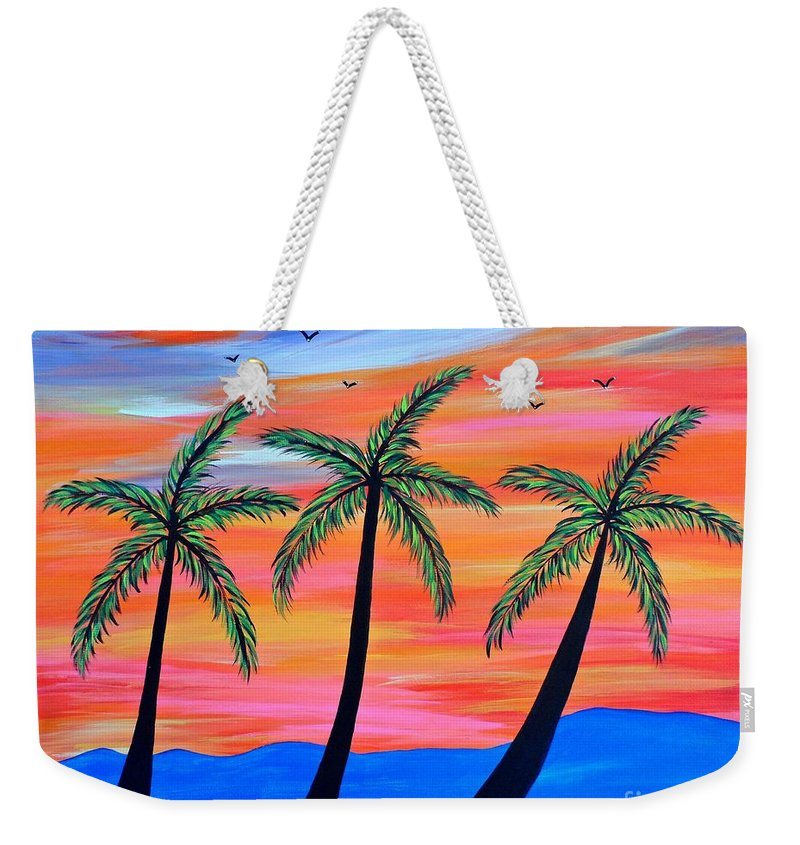 Palm Weekender Tote Bag featuring the painting Sunset Palms by JoNeL Art