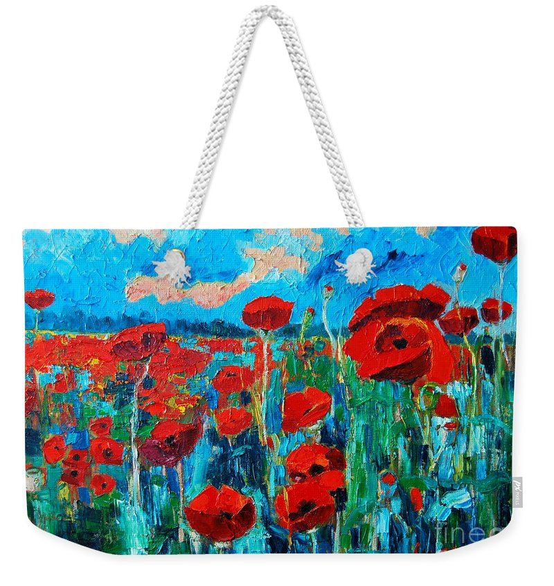Floral Weekender Tote Bag featuring the painting Sunset Poppies by Ana Maria Edulescu