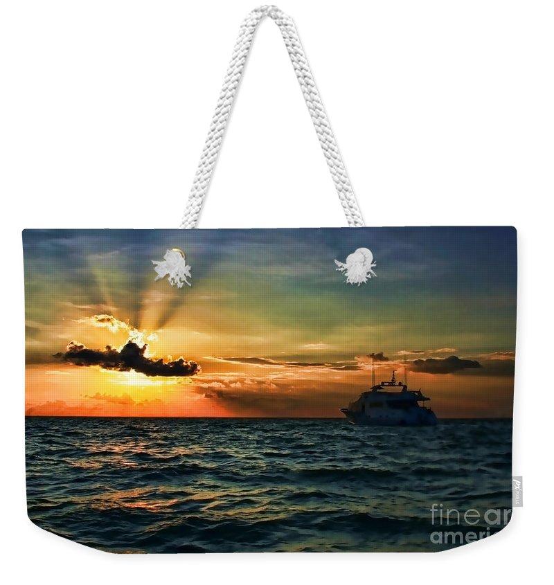 Sunset Weekender Tote Bag featuring the photograph Sunset Regatta by Diana Raquel Sainz