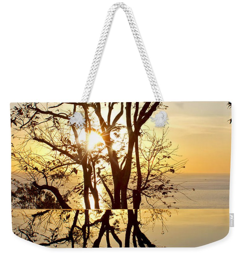 Photography Weekender Tote Bag featuring the photograph Sunset Silhouette And Reflections by Kaye Menner