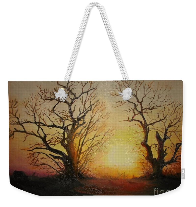 Sunset Weekender Tote Bag featuring the painting Sunset by Sorin Apostolescu