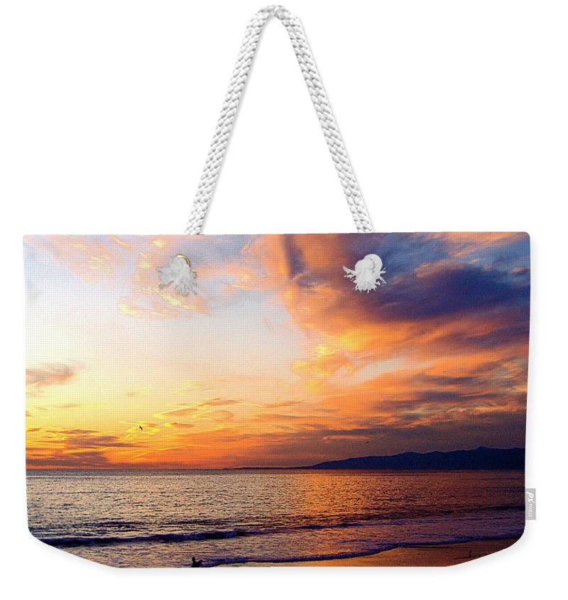 Surf Weekender Tote Bag featuring the photograph Sunset Surfing by Jerome Stumphauzer