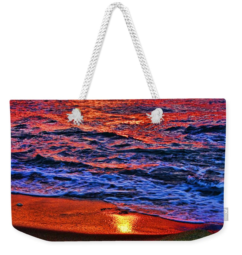 Turtle Weekender Tote Bag featuring the photograph Sunset Turtle By Diana Sainz by Diana Raquel Sainz