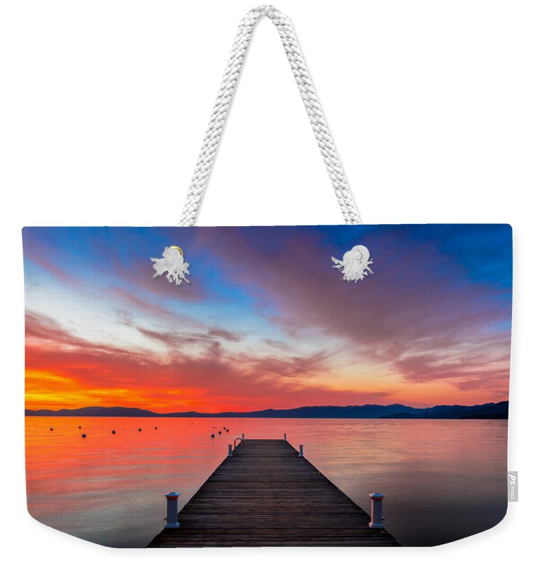 Sunset Weekender Tote Bag featuring the photograph Sunset Walkway by Edgars Erglis