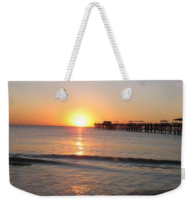 Sunset Weekender Tote Bag featuring the photograph Fishingpier Sunset by Christiane Schulze Art And Photography