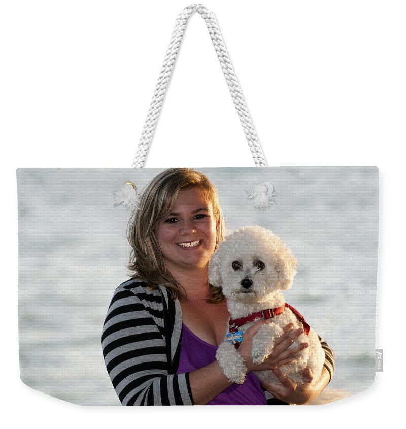 Smile Weekender Tote Bag featuring the photograph Sunset With Young American Woman And Poodle by Sally Rockefeller