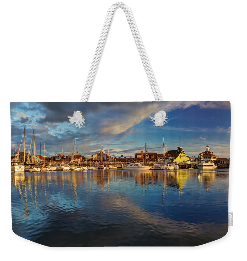 Boat Weekender Tote Bag featuring the photograph Sunset's Warm Glow by Heidi Smith