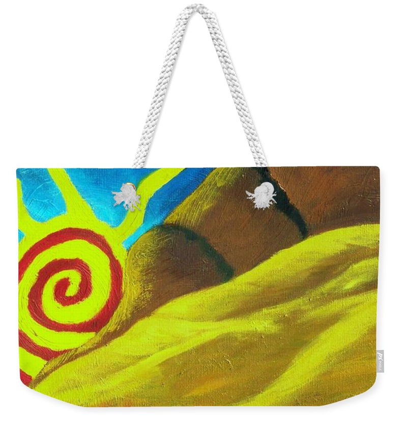 Landscape Weekender Tote Bag featuring the painting Sunsetting On Dreams by Daav Corbet