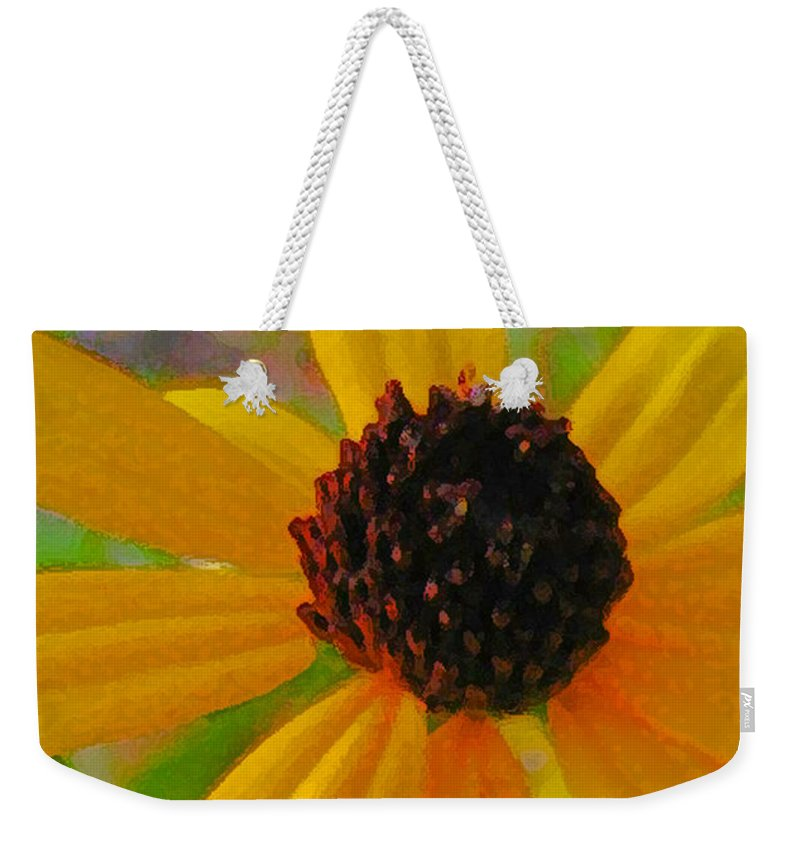 Yellow Weekender Tote Bag featuring the digital art Sunshine On Susan by Jennifer E Doll