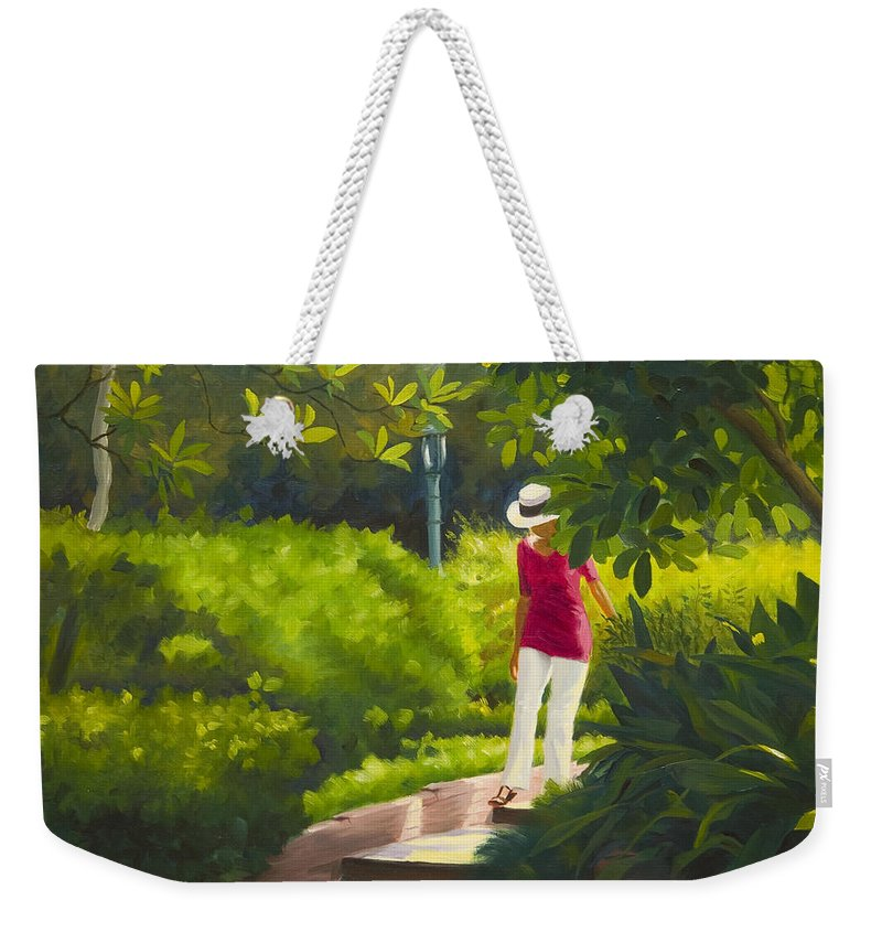 Garden Weekender Tote Bag featuring the painting Sunspots and Shadow by Gary Hernandez