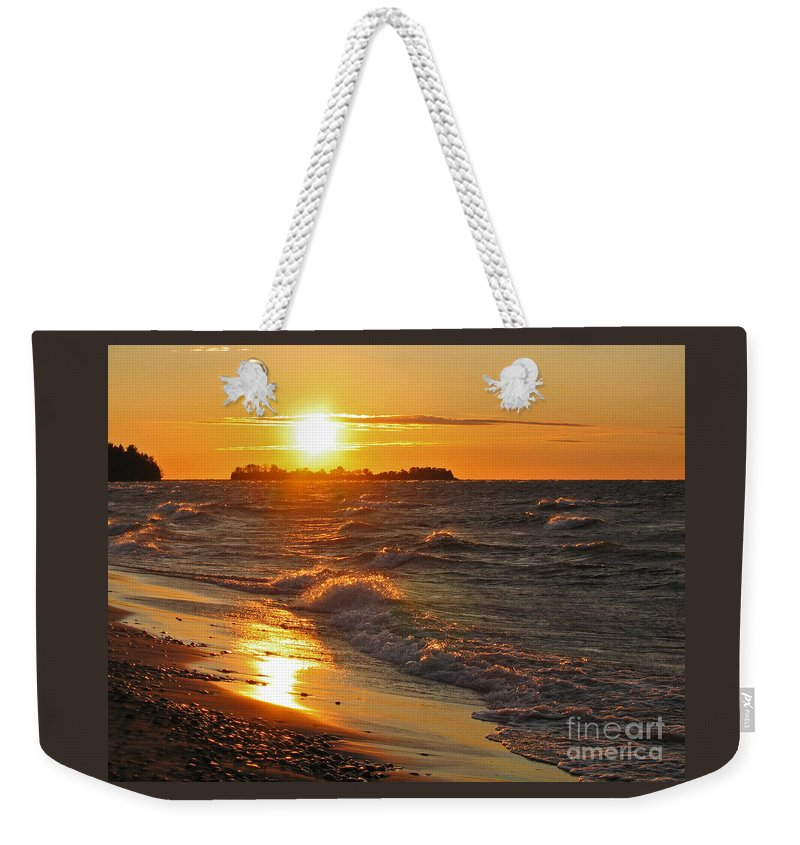Sunset Weekender Tote Bag featuring the photograph Superior Sunset by Ann Horn