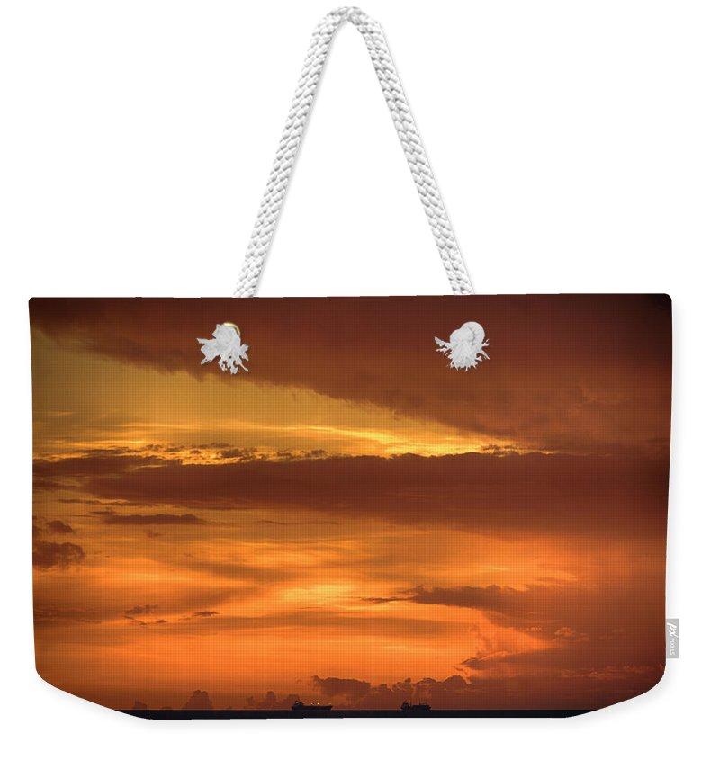 Supertanker Sunset Weekender Tote Bag featuring the photograph Supertanker Sunset V6 by Douglas Barnard