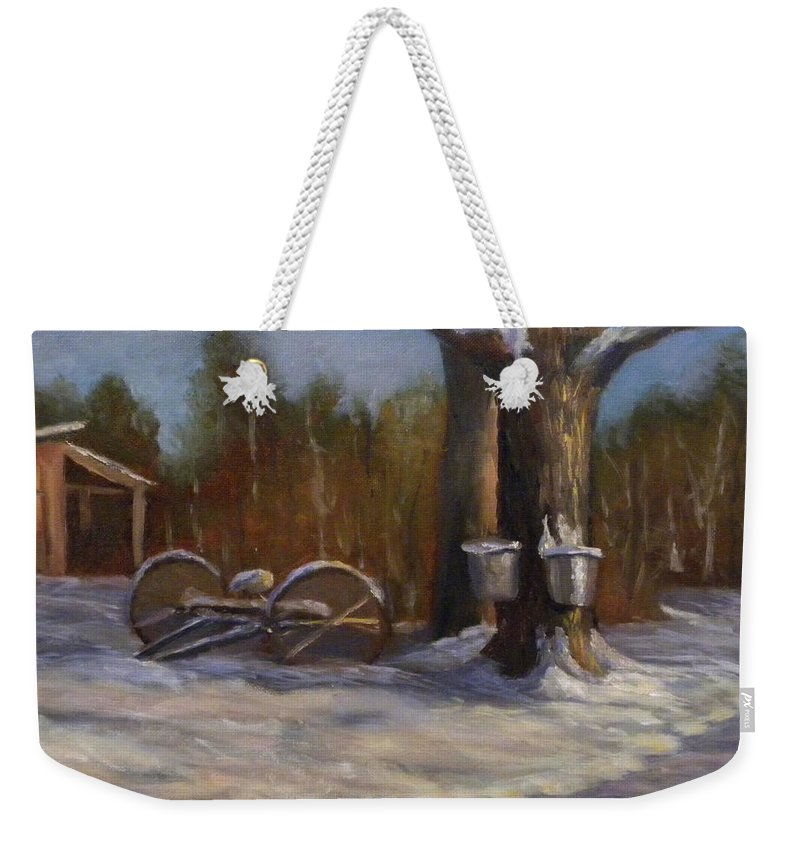 Sap Buckets Weekender Tote Bag featuring the painting Sure SIgns of Spring by Sharon E Allen