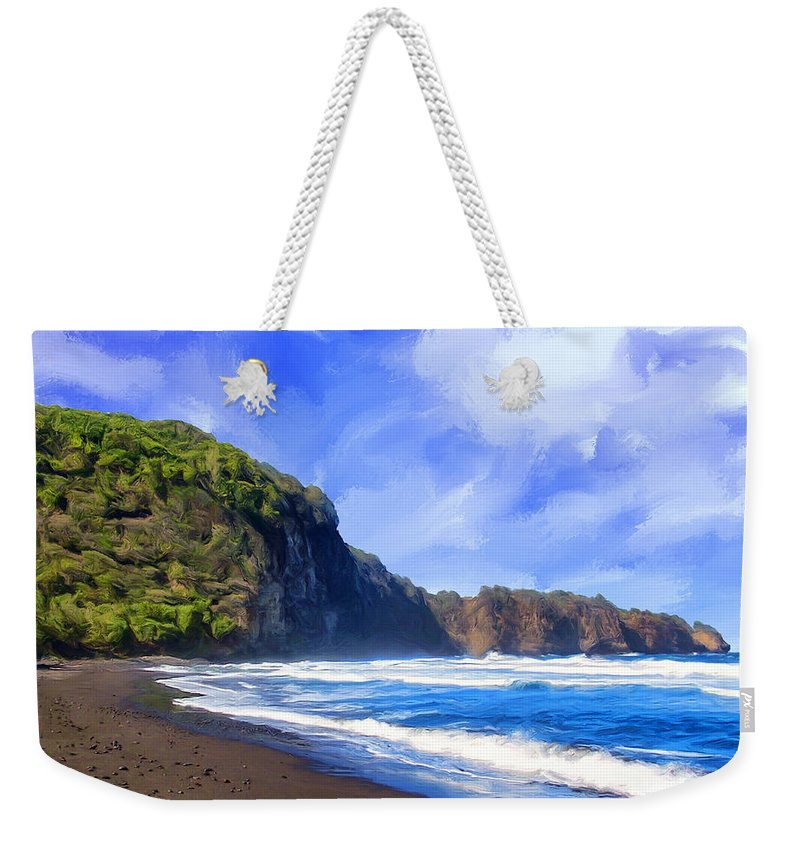 Surf Weekender Tote Bag featuring the painting Surf At Pololu Valley Big Island by Dominic Piperata
