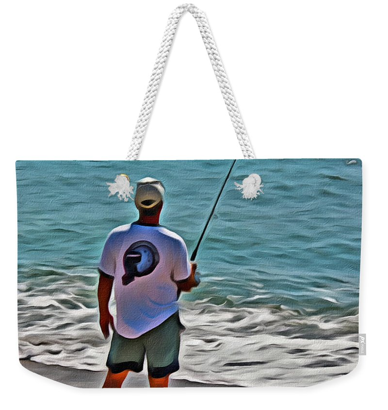Surf Weekender Tote Bag featuring the photograph Surf Fishing by Scott Hervieux