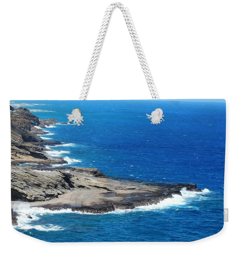 Hawaii Weekender Tote Bag featuring the photograph Surf On The Rocks by Mike Niday