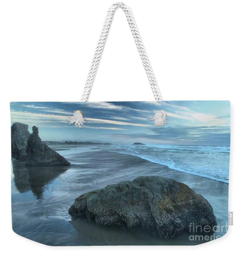 Bandon Beach Weekender Tote Bag featuring the photograph Surf Statues by Adam Jewell