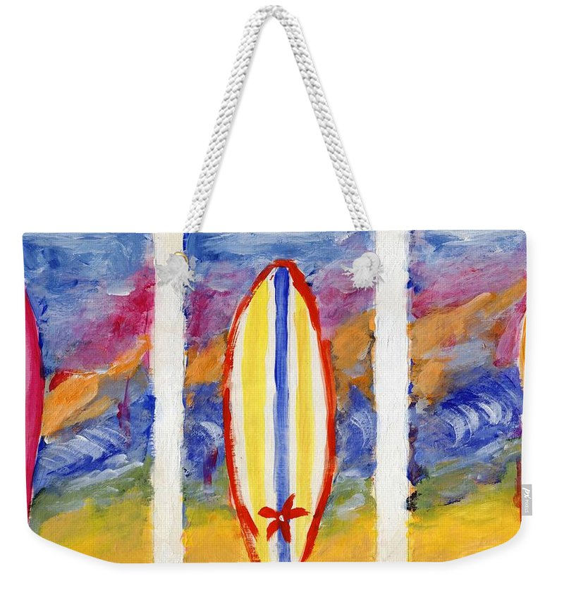 Surf Weekender Tote Bag featuring the painting Surfboards 1 by Jamie Frier