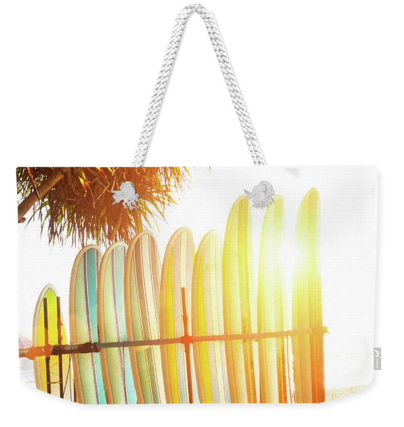 Recreational Pursuit Weekender Tote Bag featuring the photograph Surfboards At Ocean Beach by Arand