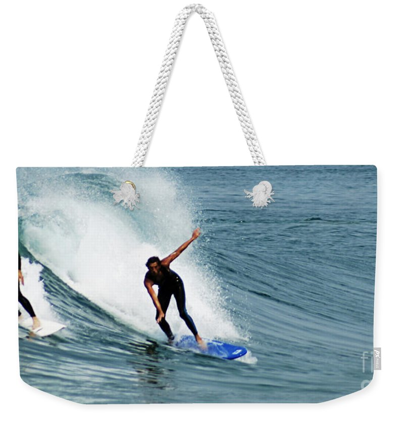 Surf Weekender Tote Bag featuring the photograph Surfer 1 by Ben Yassa