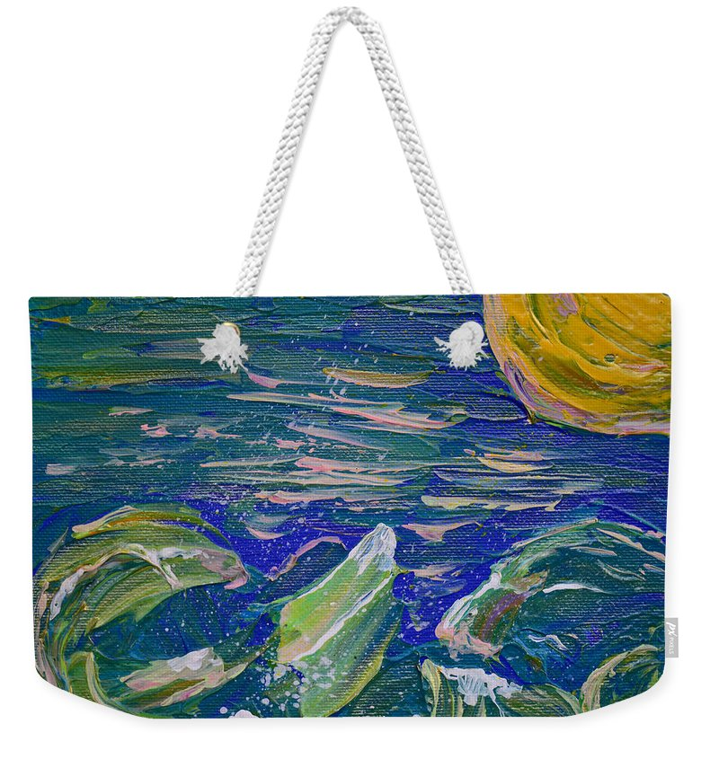 Vibrant Abstract Weekender Tote Bag featuring the painting Surfing The Sun by Donna Blackhall