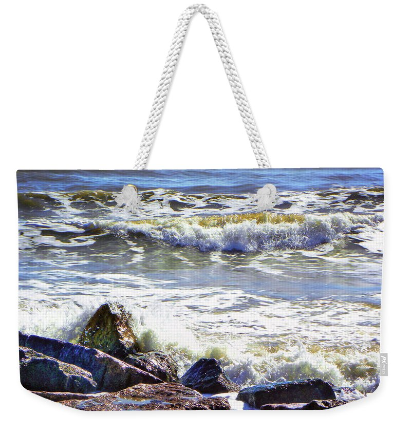 Quintana Jetty Weekender Tote Bag featuring the photograph Surfside Jetty by Savannah Gibbs