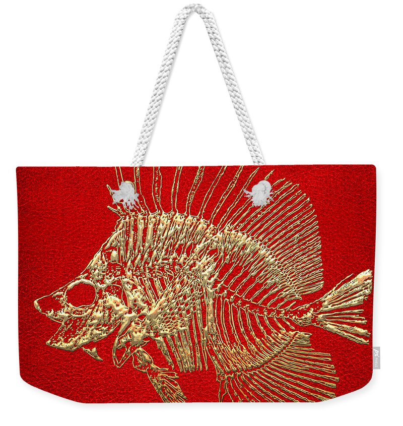 'precious Bones' Collection By Serge Averbukh Weekender Tote Bag featuring the digital art Surgeonfish Skeleton In Gold On Red by Serge Averbukh
