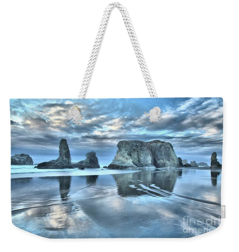 Bandon Beach Weekender Tote Bag featuring the photograph Surreal Beach Swirls by Adam Jewell