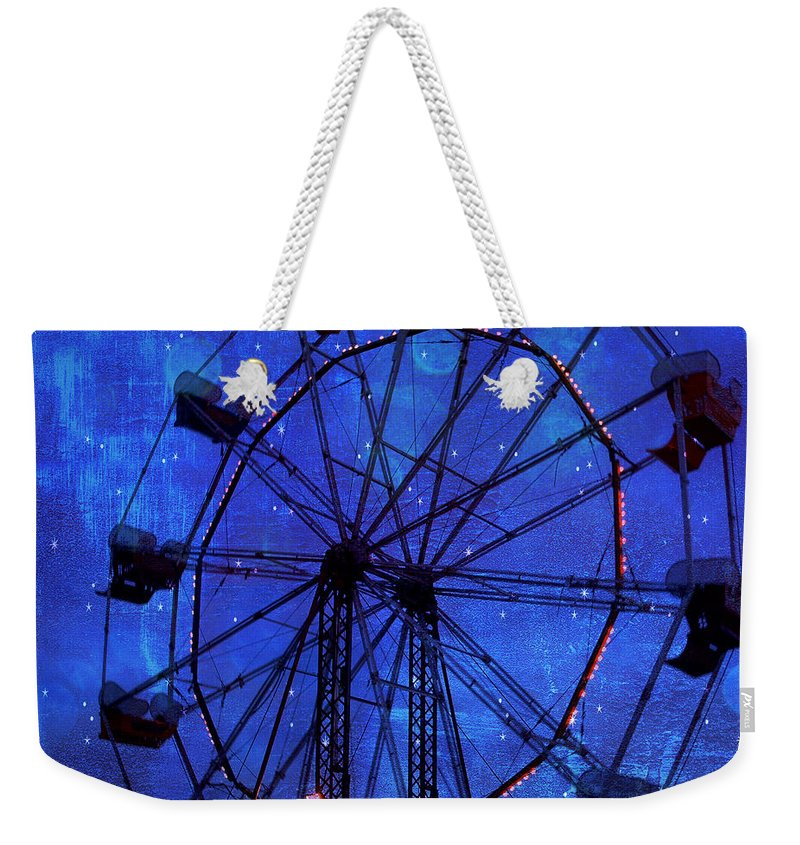 Night Stars Ferris Wheel Weekender Tote Bag featuring the photograph Surreal Fantasy Dark Blue Ferris Wheel Starry Night - Blue Ferris Wheel Carnival Decor by Kathy Fornal