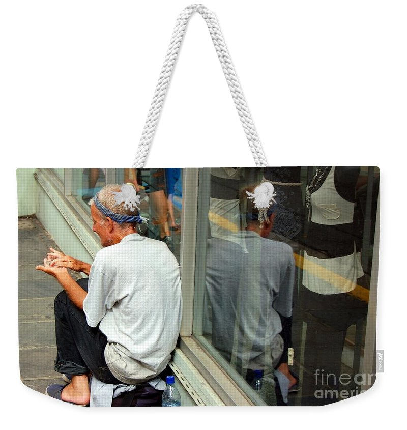 Street Person Weekender Tote Bag featuring the photograph Surviving by Debbi Granruth
