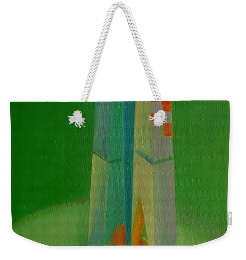 Cubist View Of Figure Weekender Tote Bag featuring the painting Survivors by Charles Stuart