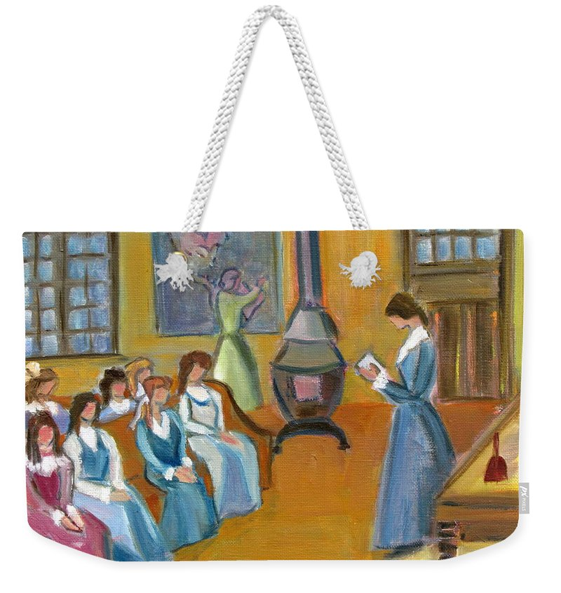 Susan B. Anthony Weekender Tote Bag featuring the painting Susan B. Anthony Teaching In Canajoharie by Betty Pieper