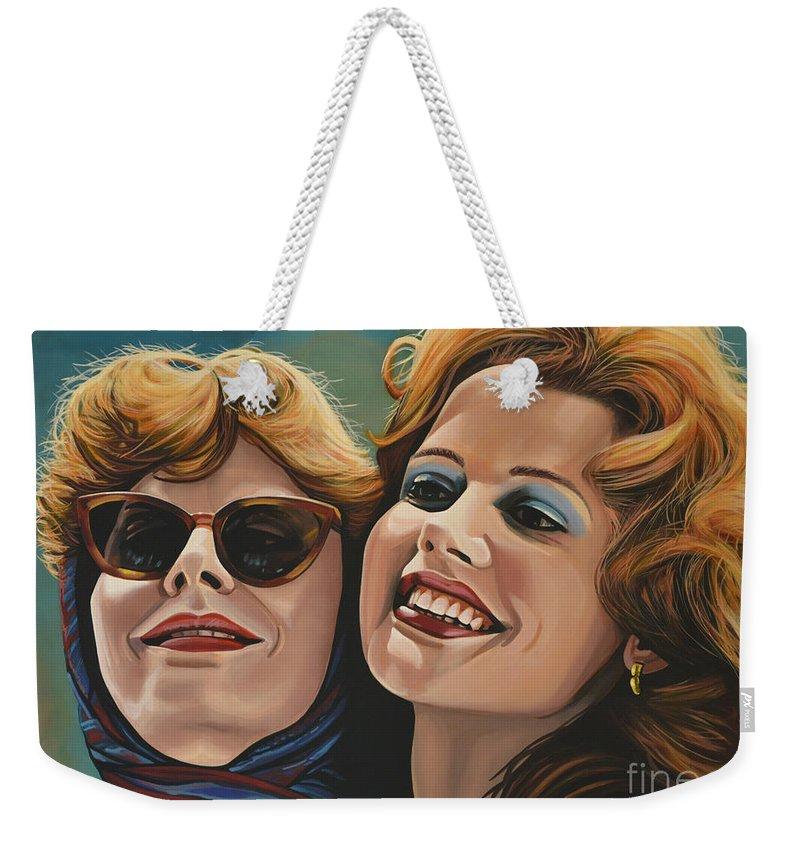 Susan Sarandon Weekender Tote Bag featuring the painting Susan Sarandon And Geena Davies Alias Thelma And Louise by Paul Meijering