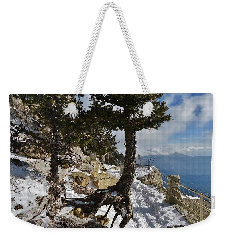 Tree Root Weekender Tote Bag featuring the photograph Suspended In Air by Lois  Rivera