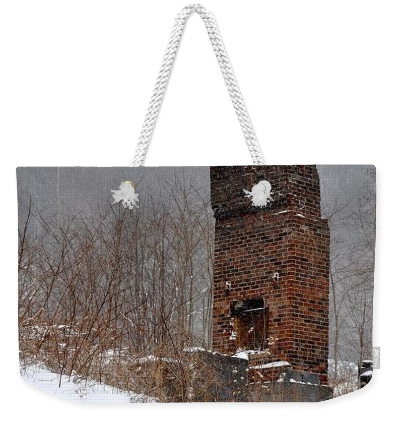 Chimney Weekender Tote Bag featuring the photograph Sutherland Chimney In Winter Number One by Christina McKinney