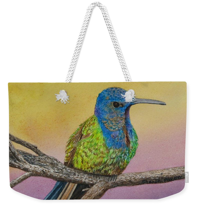 Hummingbird Weekender Tote Bag featuring the painting Swallow-tailed Hummingbird by Sharon Farber