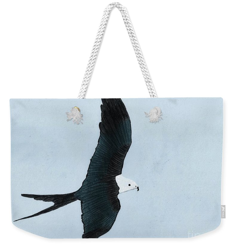 Bird Weekender Tote Bag featuring the drawing Swallow Tailed Kite by D Hackett