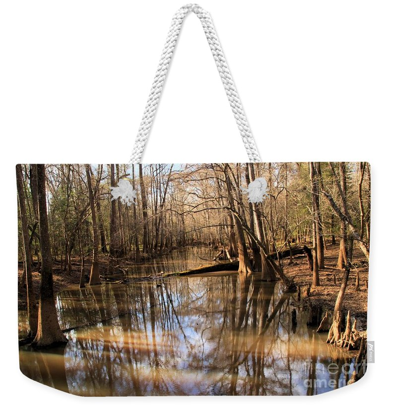 Congaree National Park Weekender Tote Bag featuring the photograph Swamp Reflections by Adam Jewell