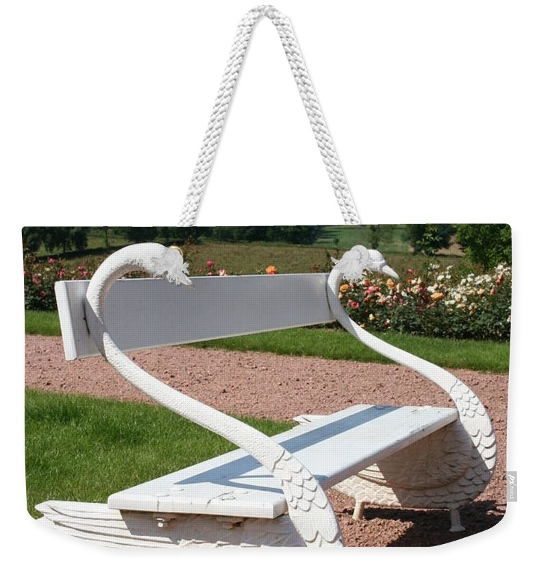 Swan Weekender Tote Bag featuring the photograph Swan Bench by Christiane Schulze Art And Photography