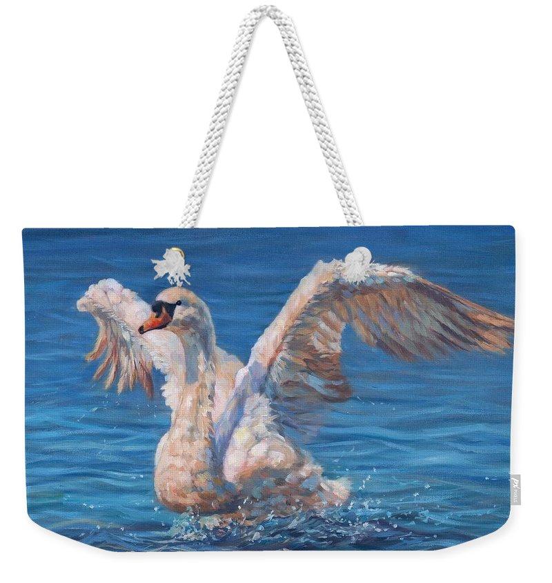 Swan Weekender Tote Bag featuring the painting Swan by David Stribbling