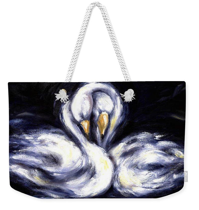 Bird Weekender Tote Bag featuring the painting Swan by Hiroko Sakai