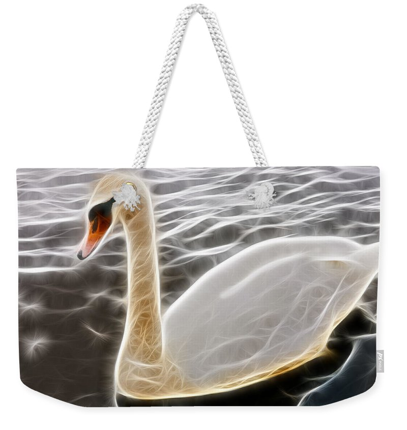 Fractal Weekender Tote Bag featuring the photograph Swan In The Water Fractal by Pati Photography
