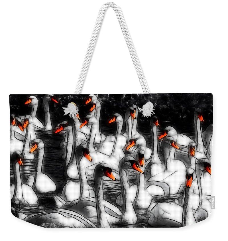 Abbotsbury Weekender Tote Bag featuring the photograph Swan Lake by Susie Peek