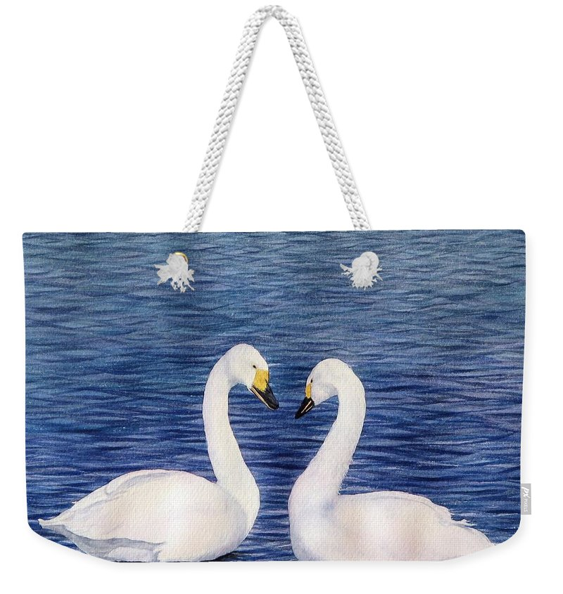 Swans Weekender Tote Bag featuring the painting Swan Love by Sharon Farber