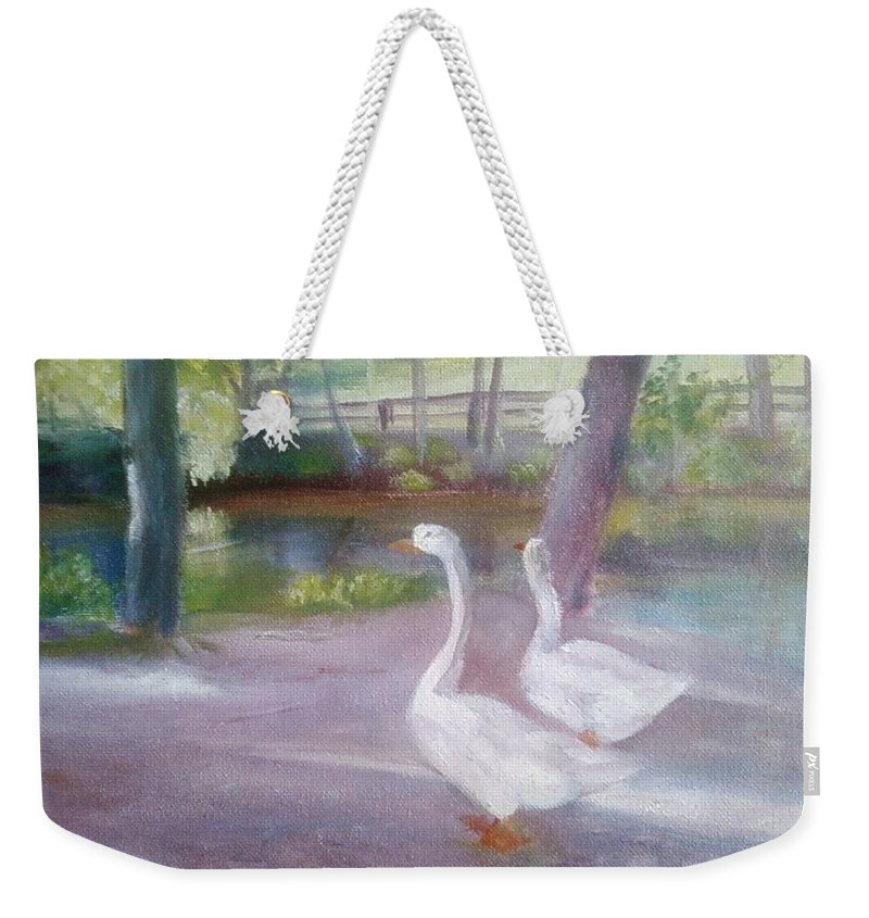 Swans Weekender Tote Bag featuring the painting Swans At Smithville Park by Sheila Mashaw