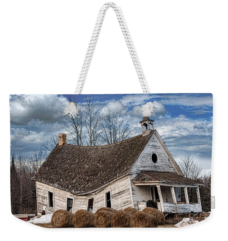 Old School House Weekender Tote Bag featuring the photograph Sway Back School House by Paul Freidlund