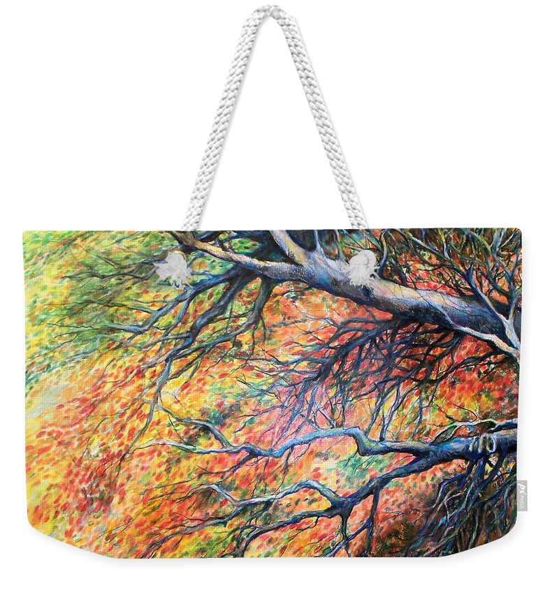 Landscape Weekender Tote Bag featuring the drawing Sway Dancing Trees by Linda Shackelford