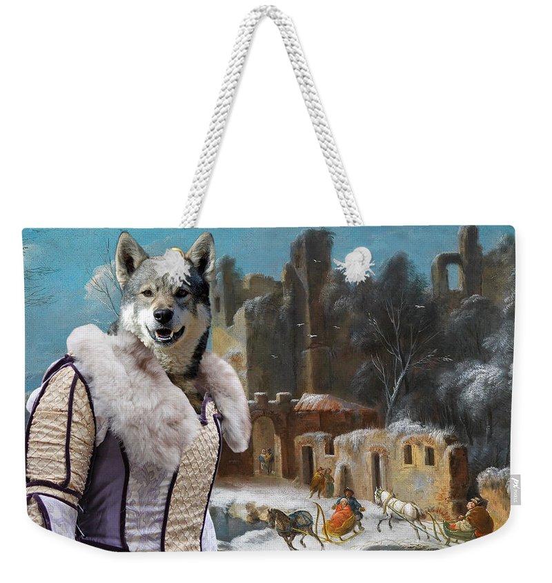 Swedish Elkhound Weekender Tote Bag featuring the painting Swedish Elkhound - Jamthund Art Canvas Print by Sandra Sij