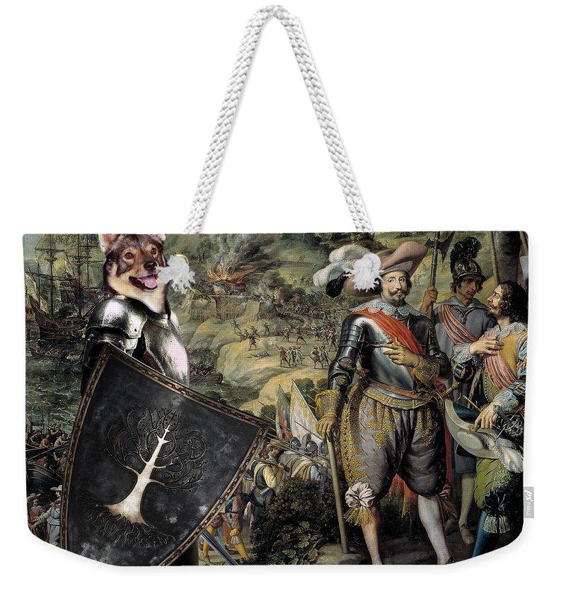 Swedish Vallhund Weekender Tote Bag featuring the painting Swedish Vallhund - Vastgotaspets Art Canvas Print by Sandra Sij