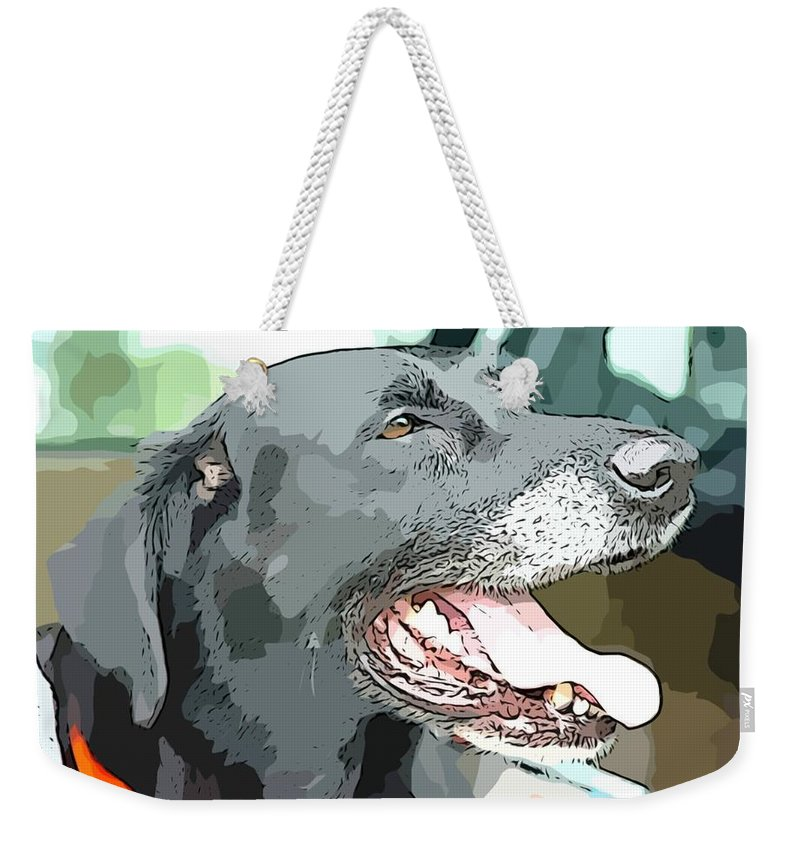 Amos Black Lab Labrador Retriever Dog Open Mouth Weekender Tote Bag featuring the photograph Sweet Amos by Alice Gipson